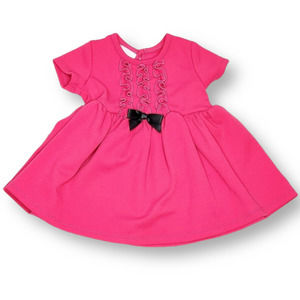 Bonnie Baby Short Sleeve Dress with Bow Pink 12 m